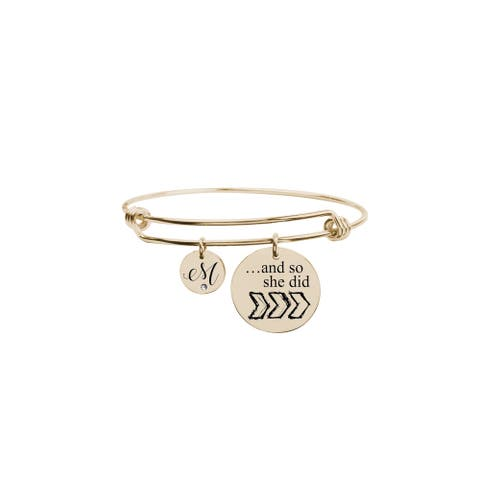 And so she did initial bangle by Pink Box M Gold