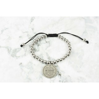 Adjustable Inspirational Charm Bracelet by Pink Box BEST FRIEND SILVER