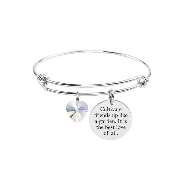 Pink Box Inspirational Expandable Bangles Made with Swarovski Crystals friendship Silver. Opens flyout.