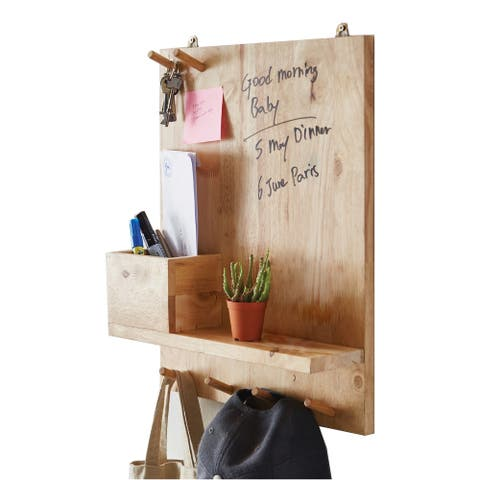 19.75 In. Natural Wood Wall Organizer w/ Hooks