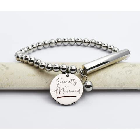 Beaded Bar Inspirational Stretch Bracelet by Pink Box Mermaid Silver