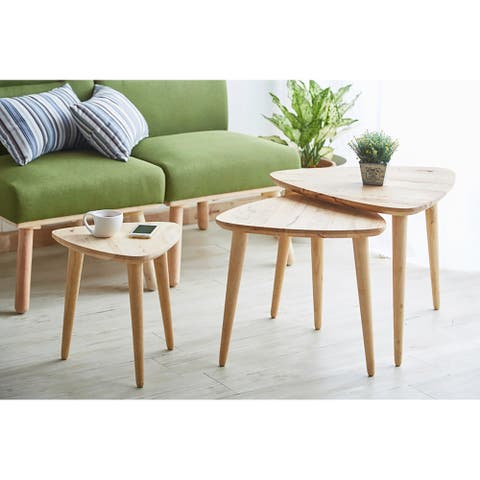 15-18 In. 3 PC Natural Wood Abbey Triangle Nesting Tables