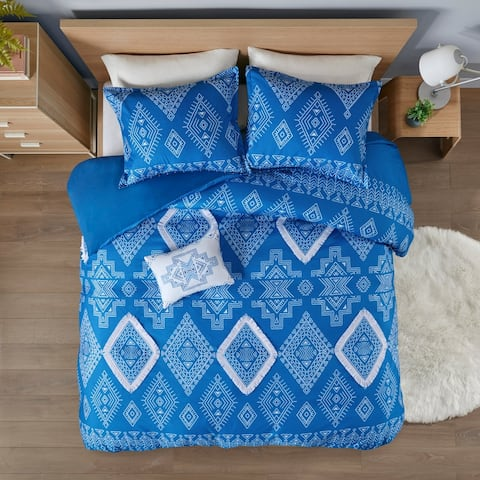 Intelligent Design Candice Printed Duvet Cover Set with Fringe Trim