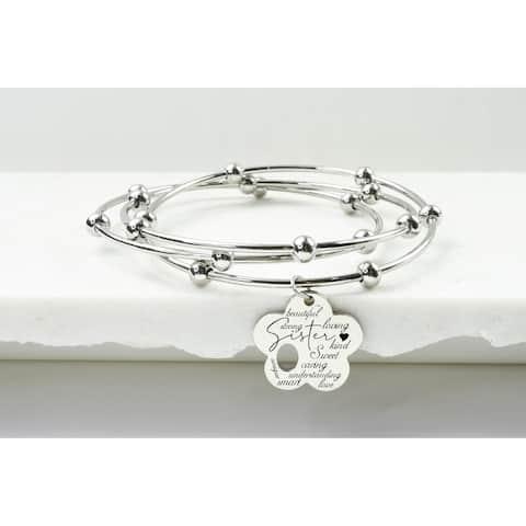 3 Layer Interlocking Flower Bracelet by Pink Box Sister Silver