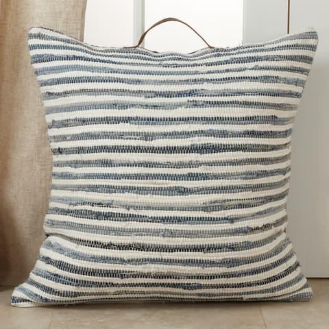 Chindi Floor Pillow with Striped Denim Design