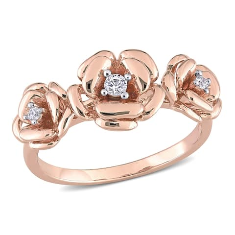 Miadora Rose Plated Sterling Silver Created White Sapphire 3-stone Floral Ring