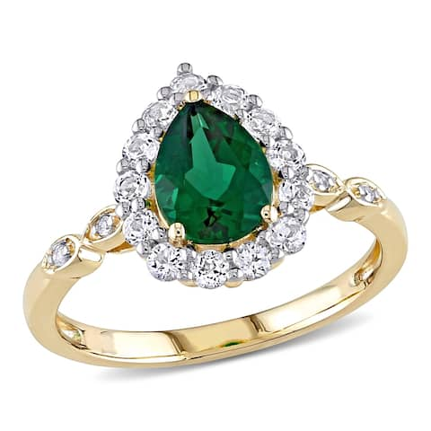 Miadora 10k Yellow Gold Created Emerald, Created White Sapphire & Diamond Teardrop Halo Engagement Ring