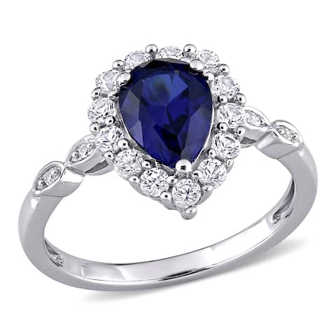 Miadora 10k White Gold Created Blue & White Sapphire with Diamond Teardrop Halo Engagement Ring