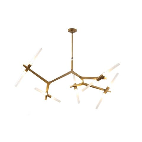 Lupe 10 Light Sputnik Modern Linear Chandelier, made of metal and glass