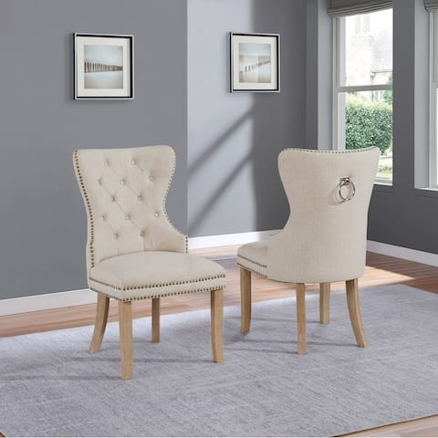 Best Quality Furniture Linen Fabric Button Tufted Chairs with Ring Back Handle (Set of 2)