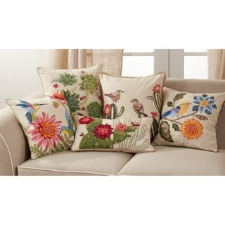 Throw Pillow with Embroidered Cactus and Flowers Design
