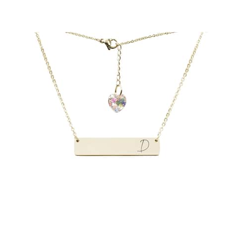 ontal Bar Initial Necklace Made with Swarovski by Pink Box D Gold
