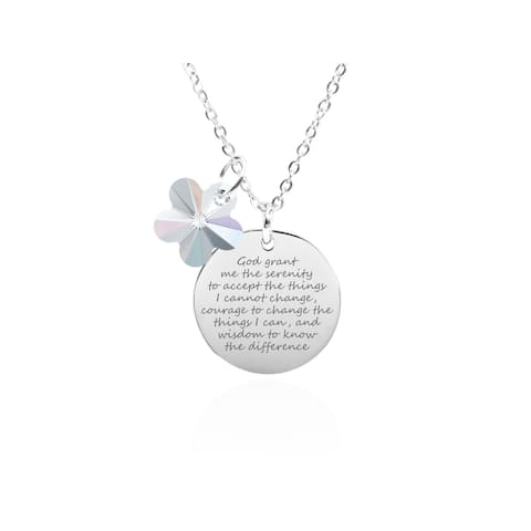 Solid Sterling Silver Inspirational Necklace Made with Swarovski by Pink Box Serenity Prayer Silver