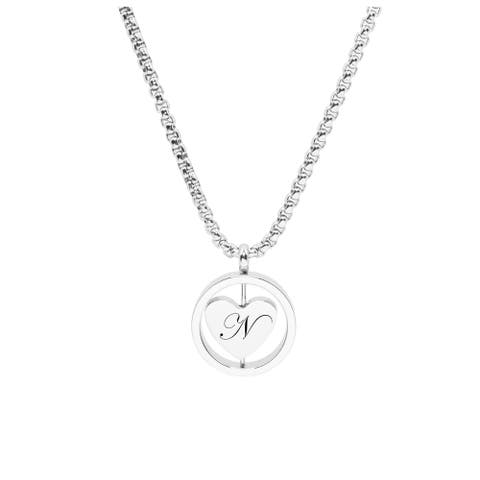 Rotating Heart Initial Necklace by Pink Box N