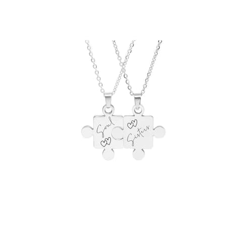 Solid Stainless Steel Puzzle Necklace Set by Pink Box Soul Sisters Silver