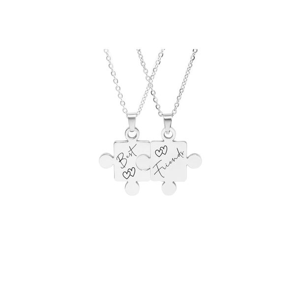 Solid Stainless Steel Puzzle Necklace Set by Pink Box Best Friends Silver
