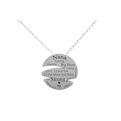 I Love You to The Moon Disc Necklace by Pink Box NANA SILVER