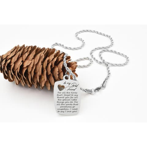 I Love You Tag Necklace by Pink Box Best Friend Silver