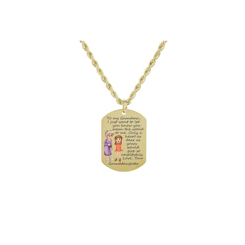 Sentimental Tag Necklace by Pink Box to GRANDMA FROM GRANDDAUGHTER GOLD