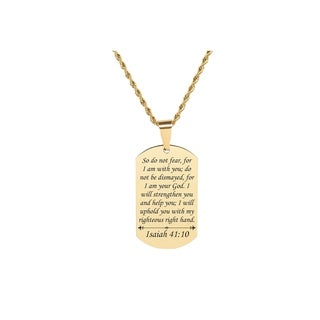 2019 Scripture Tag Necklace by Pink Box  Isaiah 41:10  Gold