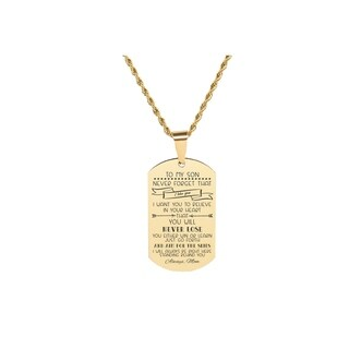 Link to Solid Stainless Steel Sentimental Message Tag Necklace by Pink Box Part 1 to Son From Mom Gold Similar Items in Fashion Jewelry Store