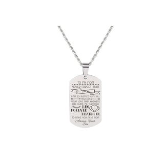 Link to Solid Stainless Steel Sentimental Message Tag Necklace by Pink Box Part 1 to Mom From Son Silver Similar Items in Fashion Jewelry Store
