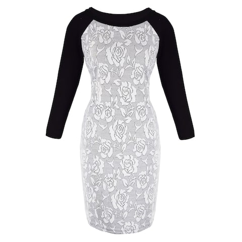 3/4 Sleeves Chic Printed Work Business Party Sheath Slimming Dress