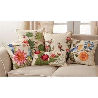 Throw Pillow with Embroidered Birds and Flowers Design