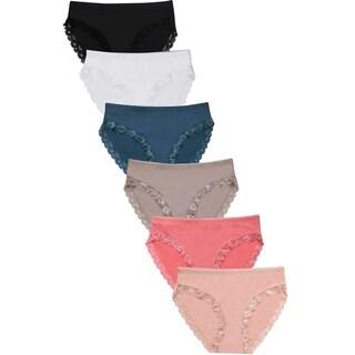 Link to 6-PAIRS Sofra Women's Nylon Blend Bikini Panty (LP2403NK-6PK) Similar Items in Intimates