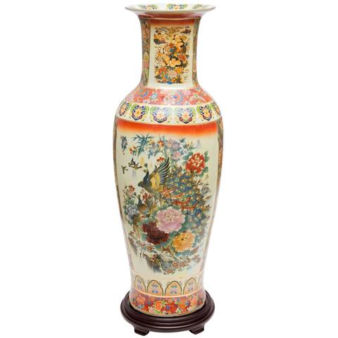"Handmade 36"" Satsuma Peacock Porcelain Tung Chi Vase"