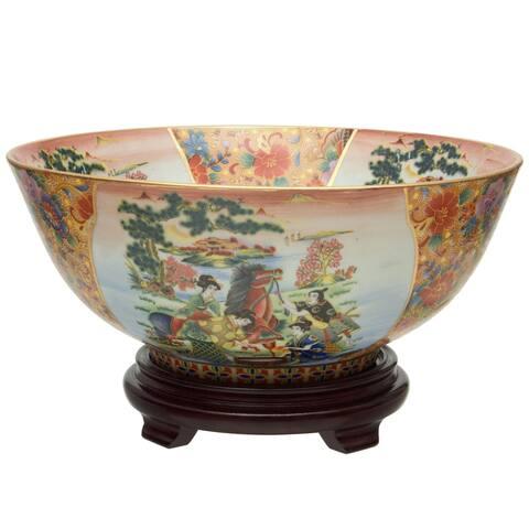 "Handmade 14"" Horse in Meadow Porcelain Bowl"