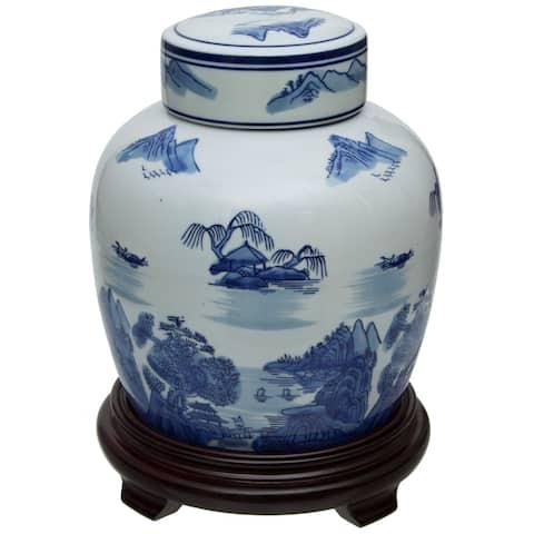 """Handmade 10"""" Landscape Blue and White Porcelain Ginger Jar"""