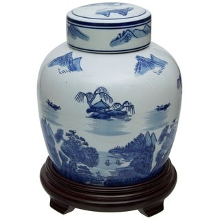 "Handmade 10"" Landscape Blue and White Porcelain Ginger Jar"