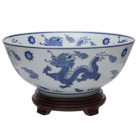 "Handmade 14"" Dragon Blue and White Porcelain Bowl"