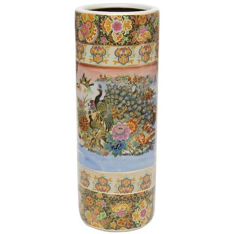 """Handmade 24"""" Satsuma Peacock Porcelain Umbrella Stand"""