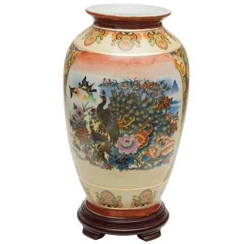 "Handmade 14"" Satsuma Peacock Porcelain Tung Chi Vase"