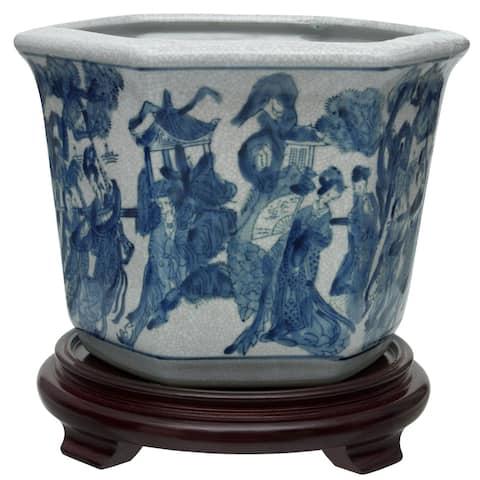 "Handmade 10"" Ladies Blue and White Porcelain Flower Pot"