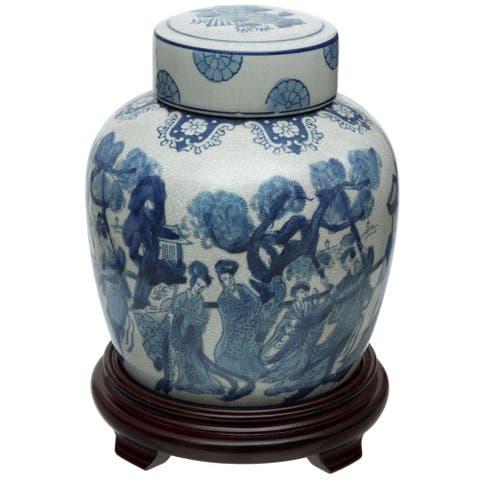 "Handmade 10"" Ladies Blue and White Porcelain Ginger Jar"