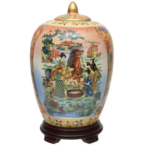 """Handmade 11"""" Horse in Meadow Porcelain Vase Jar"""