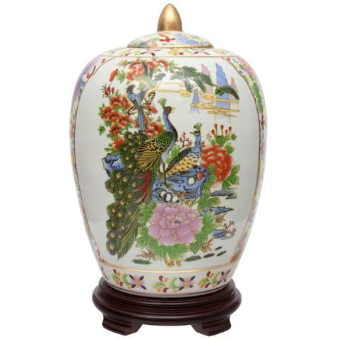 "Handmade 11"" Satsuma Birds and Flowers Porcelain Vase Jar"