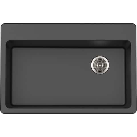 "Winpro Granite Composite 33"" (W) x 22"" (L) x 9-1/2"" (H) Single Bowl Dual Mount Sink"
