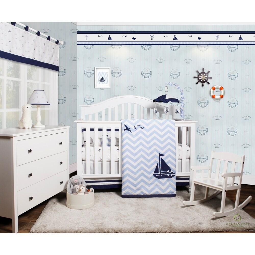 OptimaBaby Blue Grey Elephant 6 Piece Baby Nursery CRIB BEDDING SET