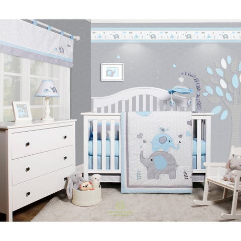 OptimaBaby Blue Gray Elephant 6 Piece Baby Nursery Crib Bedding Set