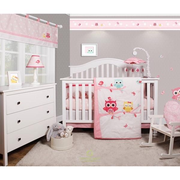 Shop OptimaBaby Owls 6 Piece Baby Nursery Crib Bedding Set ...