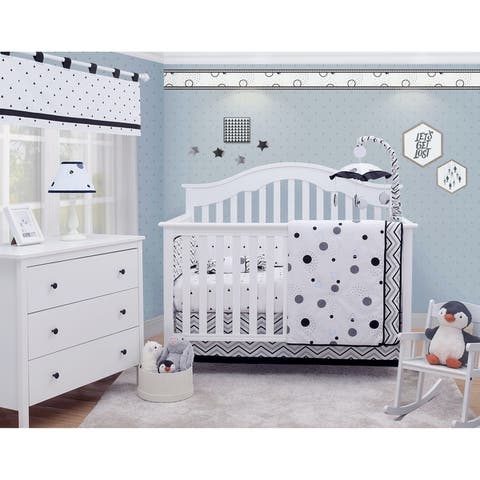 OptimaBaby Black White Pattern 6 Piece Baby Nursery Crib Bedding Set