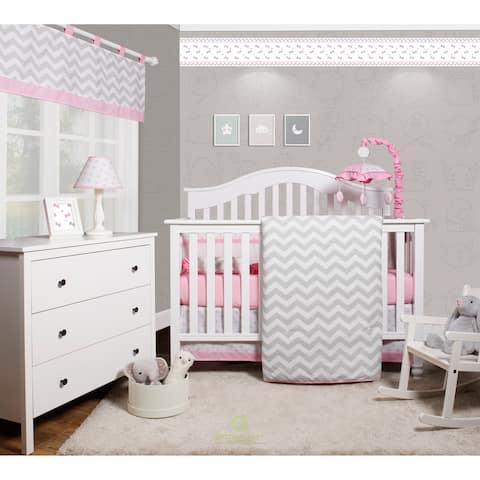 OptimaBaby Pink Chevron 6 Piece Baby Nursery Crib Bedding Set