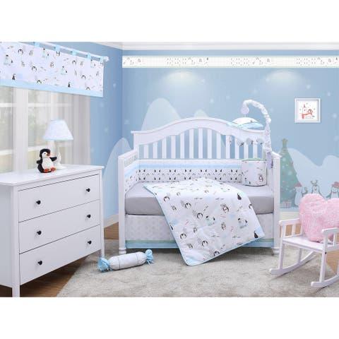 OptimaBaby Cute Penguin 6 Piece Baby Nursery Crib Bedding Set