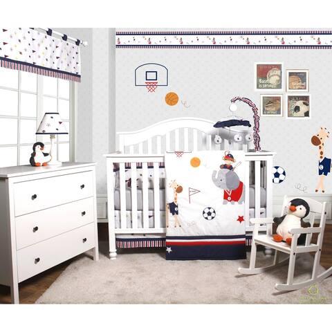 OptimaBaby Sport Animals 6 Piece Baby Nursery Crib Bedding Set