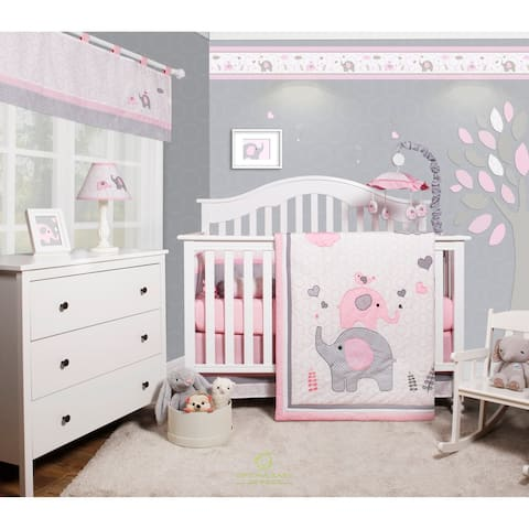 OptimaBaby Pink grey elephant 6 Piece Baby Nursery Crib Bedding Set