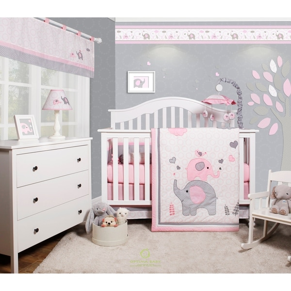 OptimaBaby Pink grey elephant 6 Piece Baby Nursery Crib Bedding Set